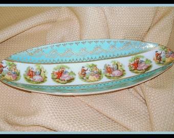 "Oval Decorative Bowl Dish Old World Design Vintage Home Decor ""Courtship Scenes""  Serving Piece Aqua Gold"