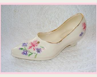 Miniature Shoe Cre Irish Vintage Porcelain Collectible Home Decor Knickknack Shelf Sitter