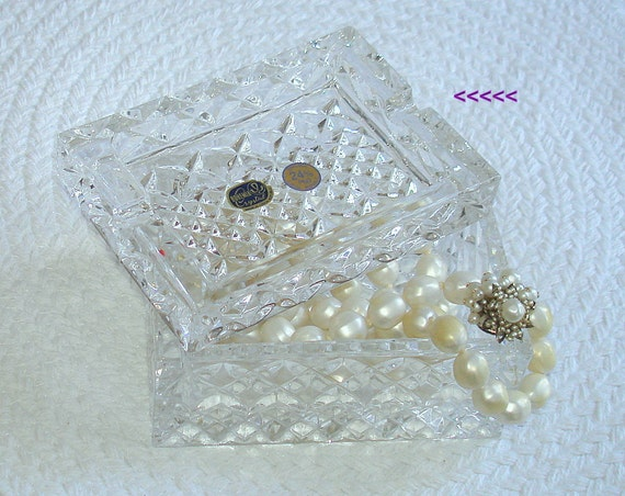 Vintage Crystal Jewelry or Cigarette Box with Cover, Bohemia Crystal - Made in Czech Republic