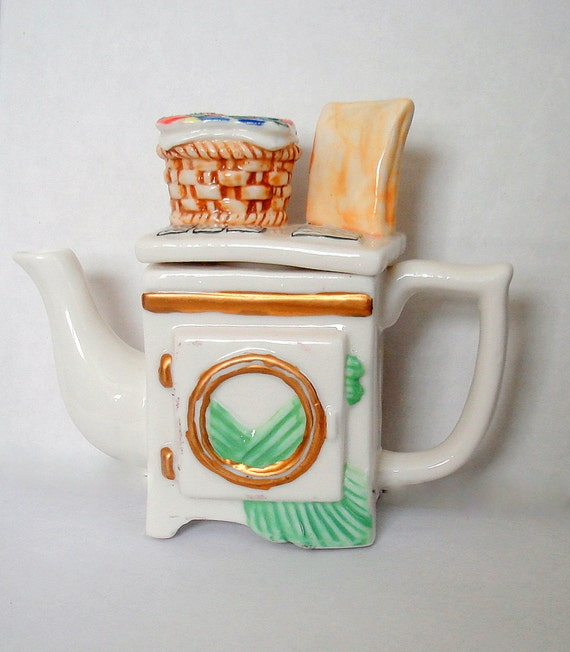 "Vintage ""Dryer"" Teapot. ON SALE.  Decorative Use. Porcelain"