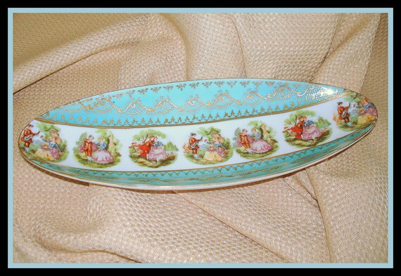 "Oval Decorative Bowl Dish Old World Design Vintage Home Decor ""Courtship Scenes""  Serving Piece Aqua Gold"