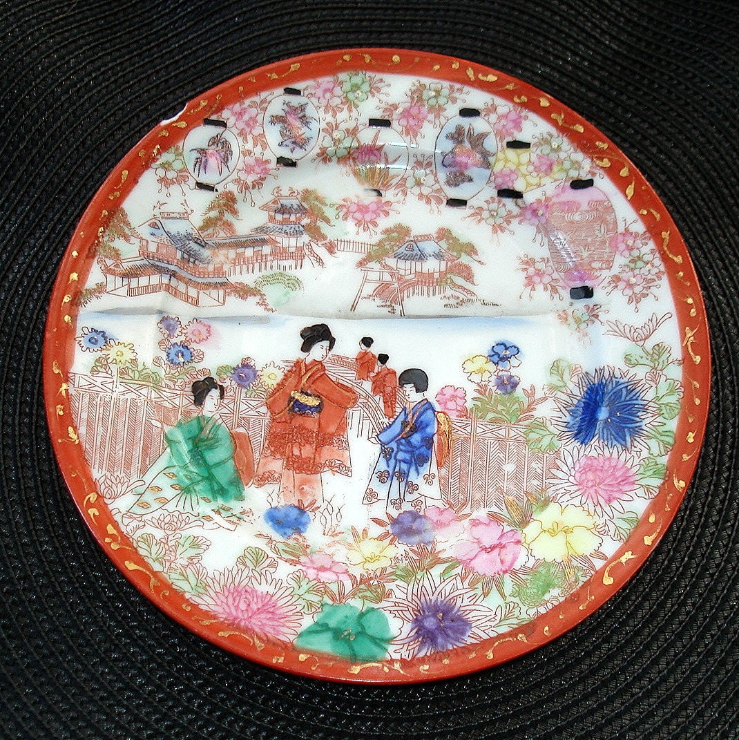 Vintage Japanese Plate Geisha Theme Porcelain Hand Painted