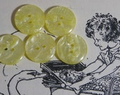 Vintage Buttons for craft ..  Bright Lemon Yellow Shimmery Delights