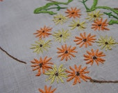 Vintage Linen ...Hand Embroidery Table centrepiece Lace Doily Tablecloth Cloth Orange Daisy