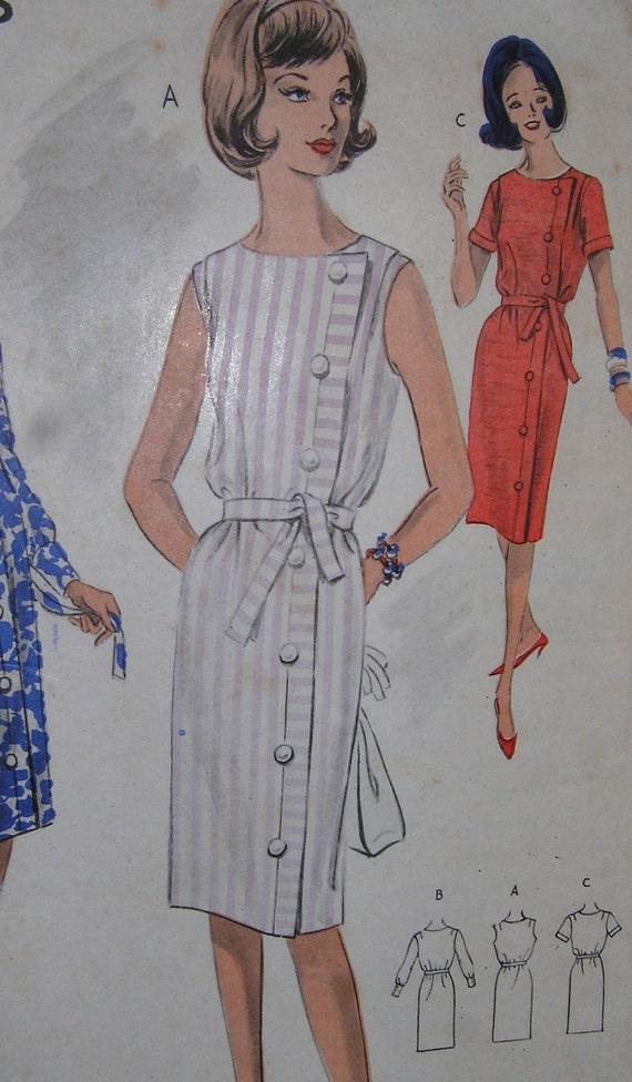 1960s Vintage Mod Dress Button Up Shift Dress WEIGELS Bust 32 Rare 2489
