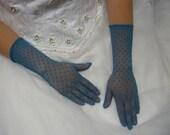 Vintage Teal Gloves in a Fishnet Pattern