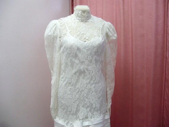 1980s White Lace Garden Flapper Edwardian Wedding Dress Size L - XL