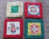 Lot of 4 Vintage Handmade Fabric Hot Pads Pot Holders