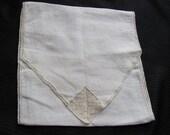 Vintage Ivory Embroidered Linen Holder