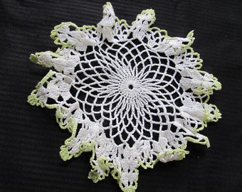 Vintage White Green Crocheted Doily 10 Inches