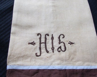 Vintage Linen Kitchen Dish Towel - 12 x 19 - His