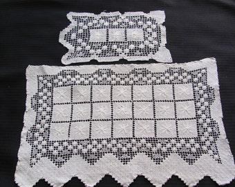Set of 2 Vintage Handmade Rectangle White Doilies Filet Lace #12B