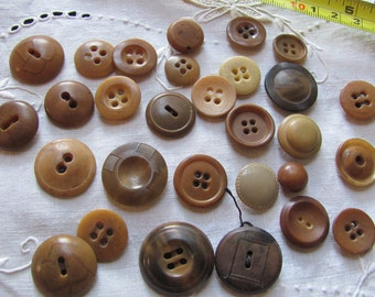 Lot of 29 Vintage and Antique Brown Tan Bakelite Celluloid Vegetable Buttons Assorted