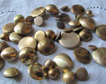 Lot of 43 Vintage and Antique Gold Brass Metal Buttons Assorted