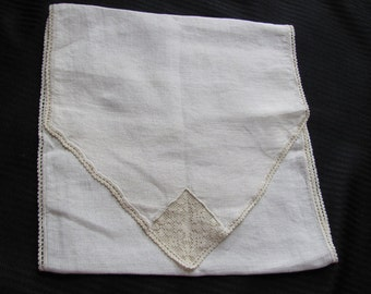 Vintage Ivory Embroidered Linen Cotton Holder Pouch for Hankies