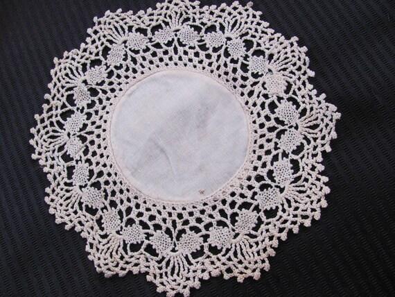Wonderful Handmade Beige Round Doily