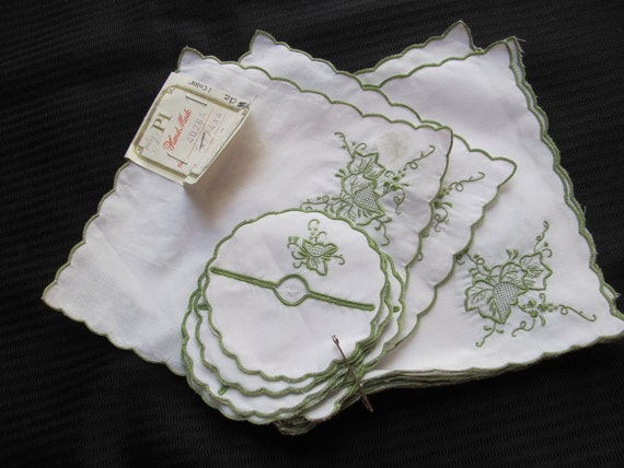 Set of 11 Vintage Napkins and 10 Matching Drink Coasters - Unused
