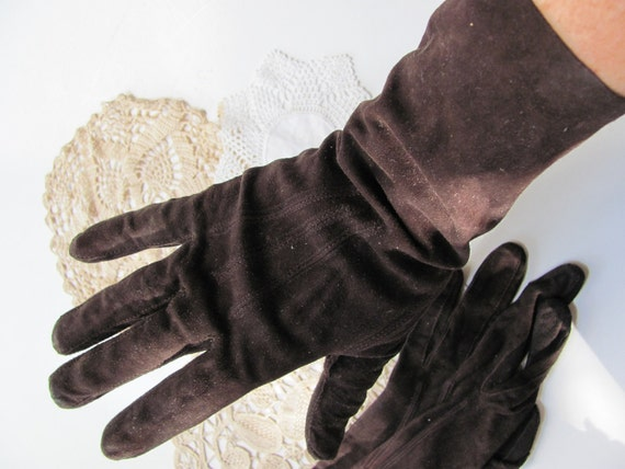 Vintage Brown Suede Leather Ladies Gloves -  11 Inches Long