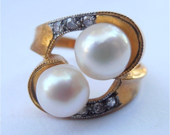 Vintage Double Pearl Ring Pave Diamond Pearl Gold Plate Wedding Sterling Silver Engagement Bride Bridal Art Nouveau Ladies Size 7.5