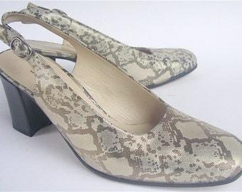 Vintage Gold Metallic Shoes Gold Leather Shoes Gold Slingbacks Gold Retro Shoes Faux Snakeskin Ladies Shoes Italian Womens Shoe Size 7.5