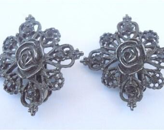 Vintage Art Deco Earrings Black Flower Earrings Black Rose Earrings Black Rhinestone Clip On Earrings Rosette Earrings Art Nouveau Earrings