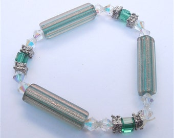 Handmade Emerald Bracelet Green Crystal Bracelet Emerald Green Bead Bracelet Green Metallic Bracelet Green Facet Bead Bracelet Christmas
