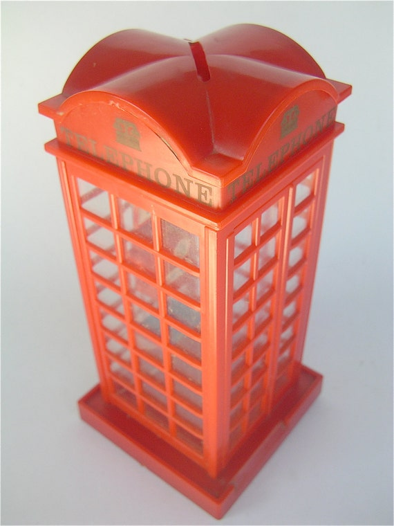 Vintage London Phone Booth Bank Money Bank Coin Bank Replica London Booth Miniature Red Phone Booth Mini Telephone Vintage 80s London Icon