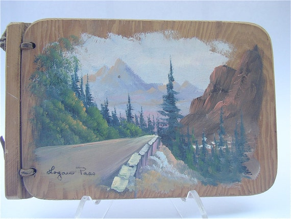 Vintage Wood Journal Logan Art Painting Nature Wood Journal Wooden Diary Logan Painting Mountain Scenic Painting Paper Scenery Stationery
