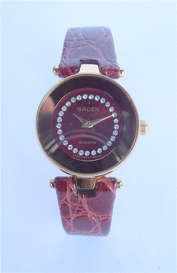 Vintage Gruen Watch Gruen Ladies Fine Watch Red Ladies Watch Maroon Wrist Watch Faux Diamond Gold Face Oxblood Leather Rhinestones Watch