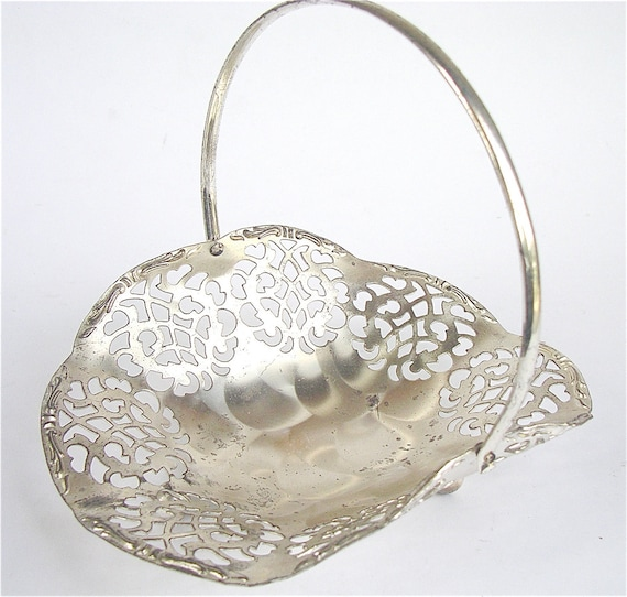 Vintage Silver Dish Filigree Silver Tray Dish Silver Lattice Bowl Open Cut Lace Tray Silver Lace Candy Dish Vintage 80s Jewel Tray Catchall