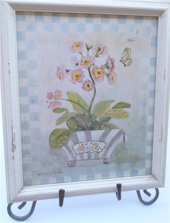 Vintage Shabby Picture Frame Flower Print Floral Picture Frame Blooms Print Cottage Chic Home Decor Vintage 80s White Frame White Wood Frame