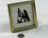 Vintage SILHOUETTE Dainty Needlepoint Cross Stitch Sampler - Black and White Needle Arts 18th Century Gentleman artist easel and Paint Box