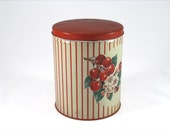 50s Kitchen Canister - Cherries and Cherry Blossoms - Red Stripes