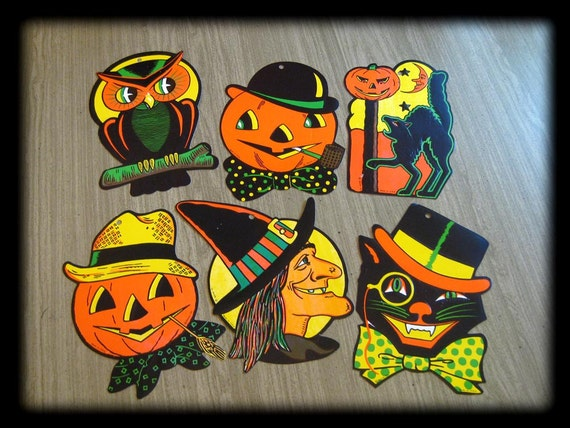 SALE Vintage Beistle Halloween Decorations 6 by NikNakNook