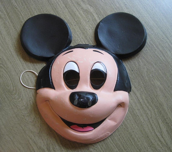 SALE 70s Mickey Mouse Costume with Mask - Vacuum-formed mask, vinyl costume - Ben Cooper Costume