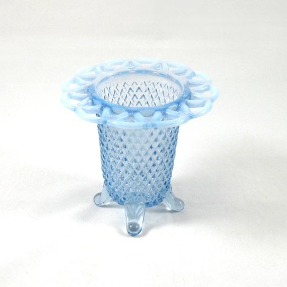 Blue DEPRESSION Glass - Delicate Milk Glass Vase - Footed - Carnival