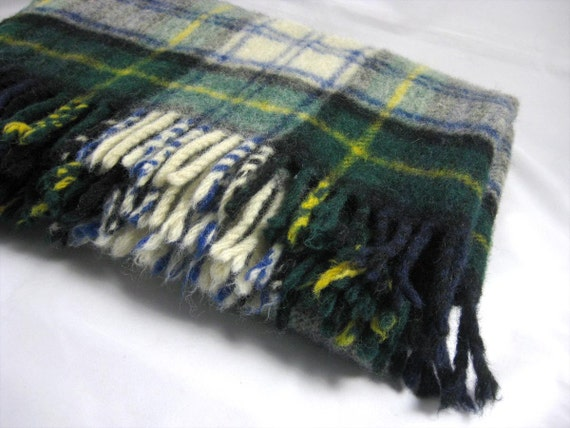 Tartan Plaid Wool Blanket - England by Filene's Boston - Lap Blanket with original tag