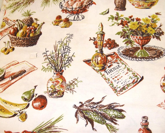 Vintage FABRIC Kitchen Cafe CURTAIN Fabric Cottage Chic 4.75 yards Autumn Colors NOS Original tags Newberrys Yellow, green, rust, brown