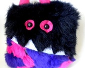 Furry Monster Pillow Black Pink and Purple