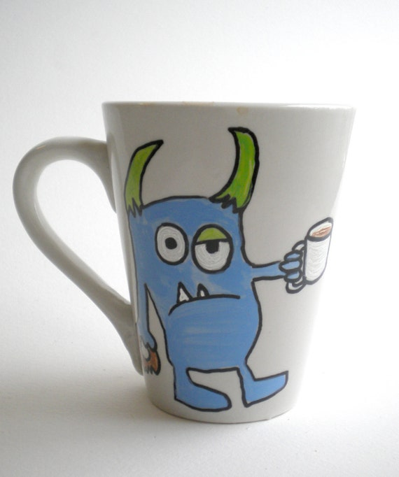 Hand painted mug monster ceramic coffee cup by maddiesminions for How to paint a mug