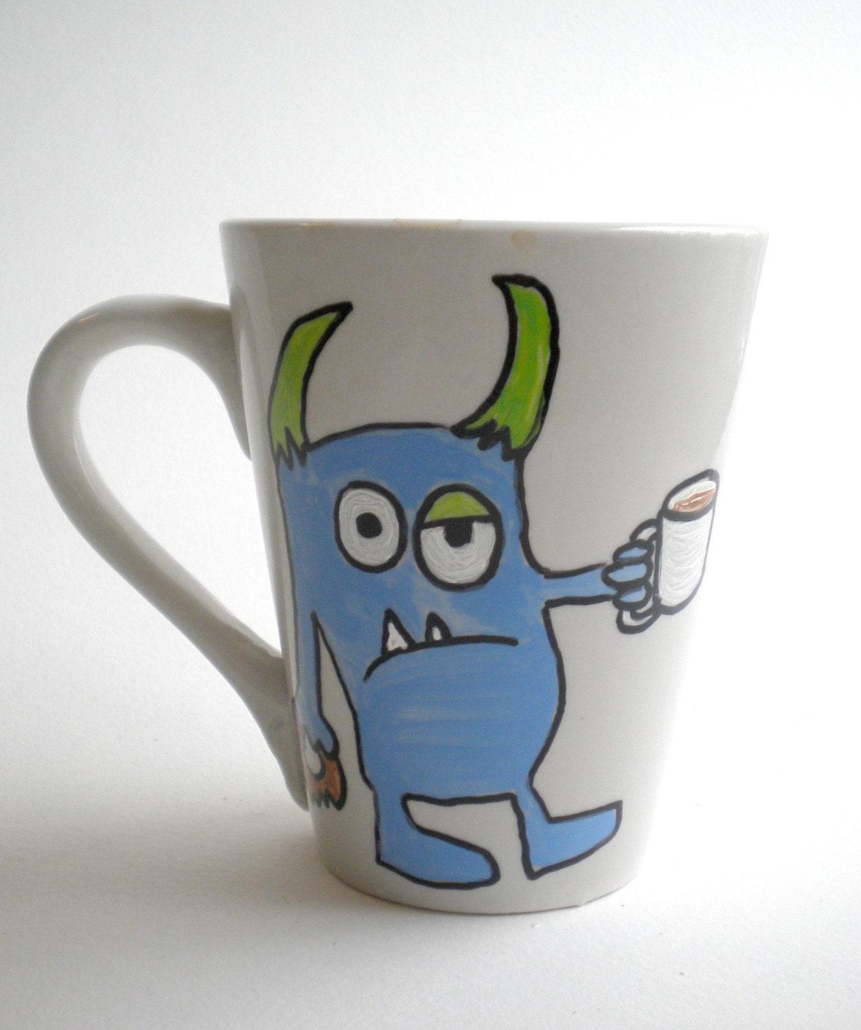 Hand painted mug monster ceramic coffee cup by maddiesminions for How to paint ceramic mugs at home