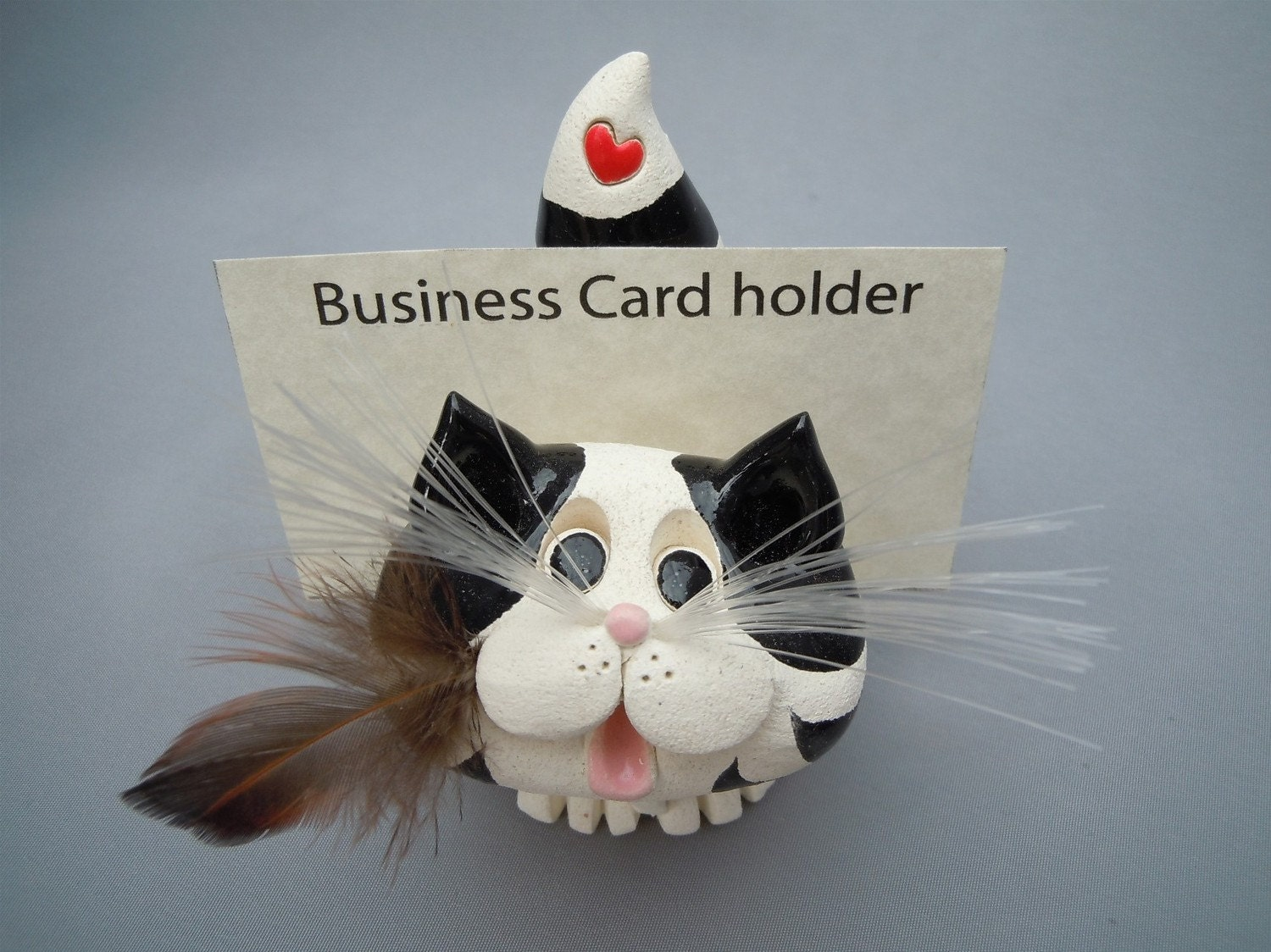Pence cat business card scratchpad holder by pencepets on etsy for Cat business card holder