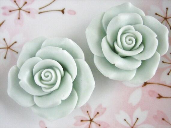 2pcs - Mint Romantic Vintage Rose Decoden Cabochon (45mm) FL10011