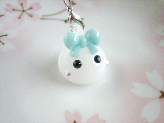 11pcs ((RESERVED)) Milky White Glitter Raindrop Cutie Charm with Lobster Clasp Accessory (20mm) PC10002