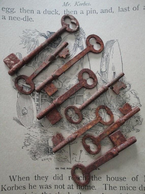 Great lot of 8 grungy, rusty old skeleton keys