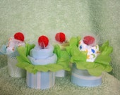 Onesie Cupcake Set for a Boy, 4 cupcakes in decorated Gift Box