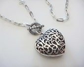 Filigree Heart in Tibetan Silver with funky long chain and detailed antiqued front toggle clasp