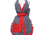 Apron Retro Vintage Inspired Blue Polka Dots and Red  Full Apron FREE SHIPPING