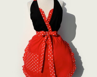 Apron  retro / Vintage Inspired Full  Apron Red and Polka Dots / Minnie mouse apron FREE SHIPPING