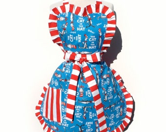 Dr. Seuss Retro Apron 1950s Vintage Inspired The Cat In The Hat  Hostess Gift Apron FREE SHIPPING